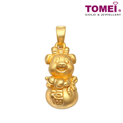 "Tomei Yellow Gold 999 (24K) ""Fortune Piglets"" Pendant  (KP-PIG-HLFD)"