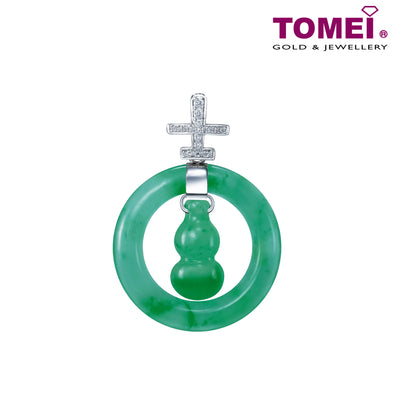 Tomei White Gold 750 (18K) Everlasting Wellbeing Jade Diamond Pendant (JP0331)