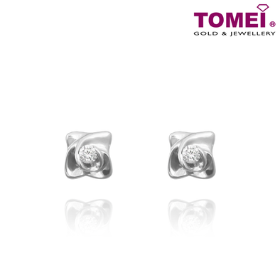 "Tomei White Gold 375 (24K) ""Starry Whisper"" Diamond Earrings (E1503)"
