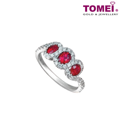 Tomei White Gold 750 (18K) All of You Ruby Diamond Ring (RF09824RU-01)