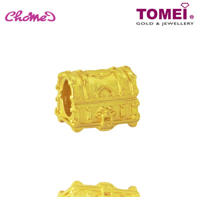[Online Exclusive] Treasure Chest Chomel Charm | Ocean of Wondrous | Tomei Yellow Gold 916 (22K) with Complimentary Navy Blue Bracelet (TM-YG0617P-1C)