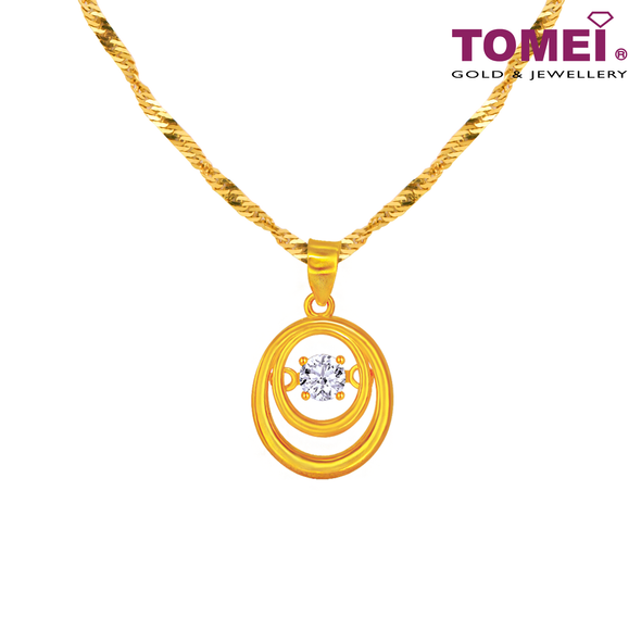 [Online Exclusive] Whirl of Love Pendant | Cubic Zirconia Heartbeat Collection | Tomei Yellow Gold 916 (22K) with Chain (9P-DDP2-1C-WC)