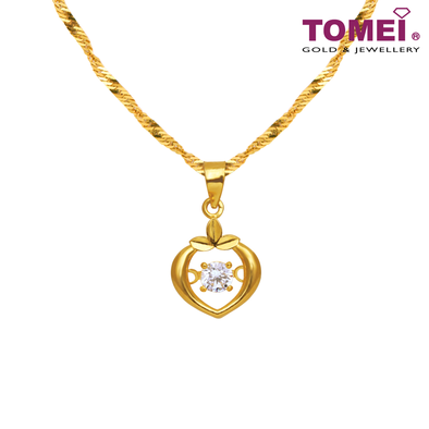 [Online Exclusive] Whisper of Love Pendant | Cubic Zirconia Heartbeat Collection | Tomei Yellow Gold 916 (22K) with Chain (9P-DDP4-1C-WC)