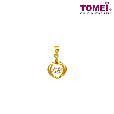 "[Online Exclusive] Tomei 916 (22K) Yellow Gold ""Whisper of Love"" Cubic Zirconia Heartbeat Pendant with Complimentary Rope Necklace (9P-DDP4-1C)"