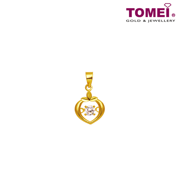 [Online Exclusive] Whisper of Love Pendant | Cubic Zirconia Heartbeat Collection | Tomei Yellow Gold 916 (22K) with Complimentary Rope Necklace (9P-DDP4-1C)