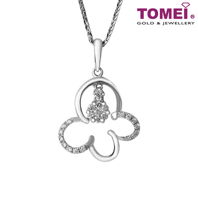 Clover Diamond Necklace | Tomei 375 (9K) White Gold (P1453V)