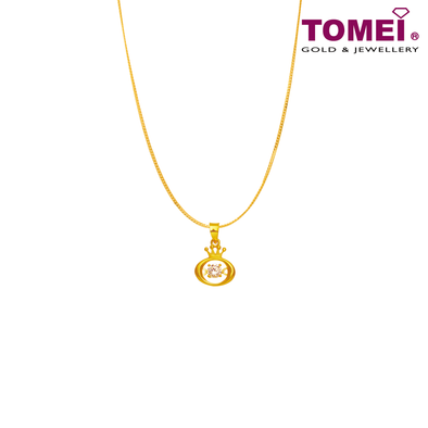"[Online Exclusive] Tomei 916 (22K) Yellow Gold ""Queen of My Heart"" Cubic Zirconia Heartbeat Pendant with Chain (9P-DDP7-1C-WC)"