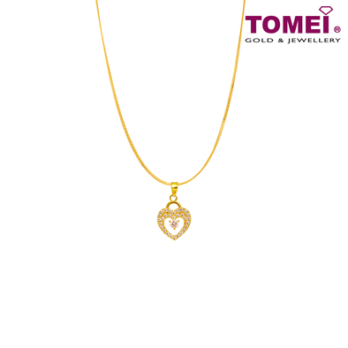 "[Online Exclusive] Tomei 916 (22K) Yellow Gold ""So In Love"" Cubic Zirconia Heartbeat Pendant with Chain (9P-SP1-1C-WC)"