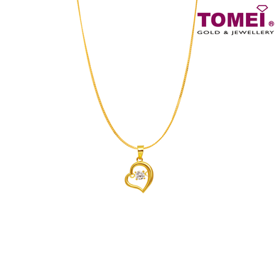 "[Online Exclusive] Tomei 916 (22K) Yellow Gold ""My Heart Beats for You"" Cubic Zirconia Heartbeat Pendant with Chain (9P-DDP3-1C-WC)"