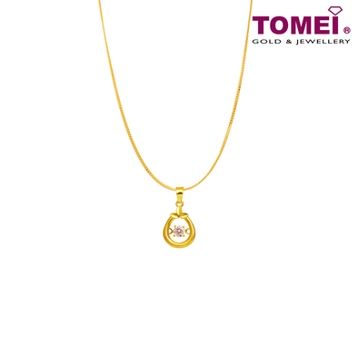 "[Online Exclusive] Tomei 916 (22K) Yellow Gold ""Heartful Promise"" Cubic Zirconia Heartbeat Pendant with Chain (9P-DDP6-1C-WC)"