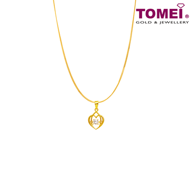 "[Online Exclusive] Tomei 916 (22K) Yellow Gold ""You Complete Me"" Cubic Zirconia Heartbeat Pendant with Chain (9P-DDP1-1C-WC)"