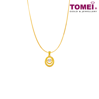 "[Online Exclusive] Tomei 916 (22K) Yellow Gold ""Whirl of Love"" Cubic Zirconia Heartbeat Pendant with Chain (9P-DDP2-1C-WC)"