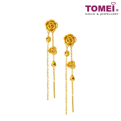 Gold Rosies 倾城玫瑰 Earrings | Tomei Yellow Gold 999 (24K) (XF-QCMG-1-Q)