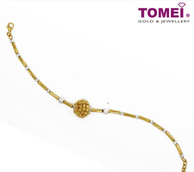 Dual-Tone Bracelet with the The Sole Ball of Yarn | Tomei Yellow Gold 916 (22K) (BB2949-2C)