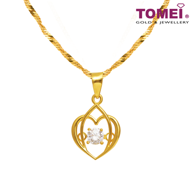 [Online Exclusive] You Complete Me Pendant | Cubic Zirconia Heartbeat Collection | Tomei Yellow Gold 916 (22K) with Chain (9P-DDP1-1C-WC)