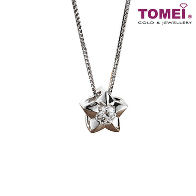 [Limited Stock]Necklace of Luminous Star | Sparking Star | Tomei White Gold 750 (18K) (P6121)