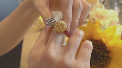 Dual-Tone Sultry Seduction Ring | Tomei Yellow Gold 916 (22K) (RR3087-2C)
