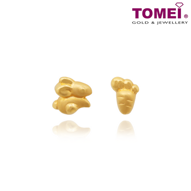 Tomei Yellow Gold 916 (22K) Bunny Chasing Carrot Earrings (EE2839-1C)