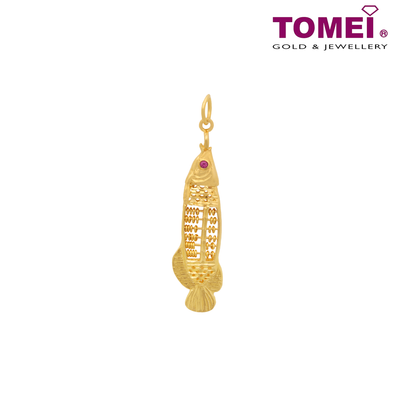 (LAST PIECE - ONLINE EXCLUSIVE) Arowana Abacus Pendant | Tomei Yellow Gold 916 (22K) (9P-SP-FISH-1C)