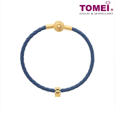 [Online Exclusive] Roll of Love Dual-Tone Charm | Tomei Yellow Gold 916 (22K) with Complimentary Navy Blue Bracelet (TM-PT124-2C)