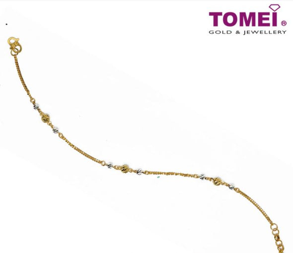 Delicate and Dainty Dual-Tone Bracelet | Tomei Yellow Gold 916 (22K) (BB3177-F-2C)