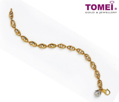 Dual-Tone Bracelet with the Diamantes Glitter in Splendour | Tomei Yellow Gold 916 (22K) (9M-DM-B5754-2C)
