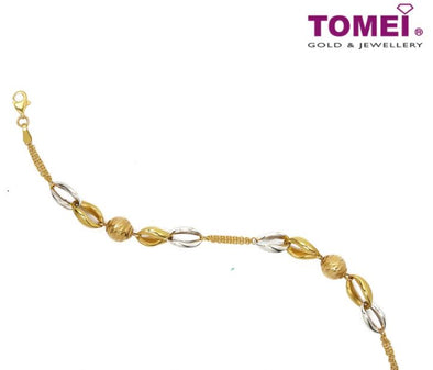 Profusion of Geometrical Splendour in Motion Dual-Tone Bracelet | Tomei Yellow Gold 916 (22K) (X3FOR7B204367-TC-DC)