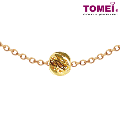 "Tomei Yellow Gold 916 (22K) ""Glittery & Swirly Ball"" Pendant (9P-CTDQ-7MM-1C)"