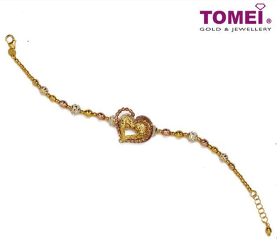 Bohemian-esque Nexus of Love and Tenderness Tri-Tone Bracelet | Tomei Yellow Gold 916 (22K) (IM-MSL605-BR-3C )