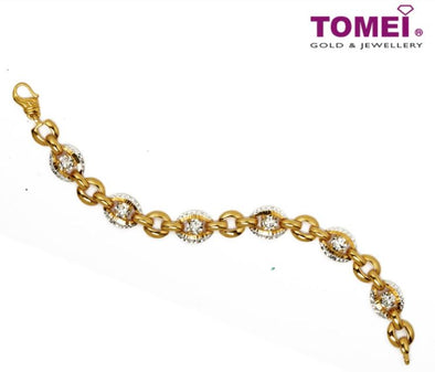 Dual-Tone Bracelet with the Dazzling Diamantes Glitter | Tomei Yellow Gold 916 (22K) (9M-DM-B5754-2C)