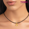 [Online Exclusive] You Complete Me Pendant | Cubic Zirconia Heartbeat Collection | Tomei Yellow Gold 916 (22K) with Complimentary Rope Necklace (9P-DDP1-1C)