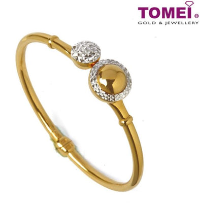 Dual-Tone Bangle with Spheres of Class and Style | Tomei Yellow Gold 916 (22K) (9L-DM-SG4387-2C)