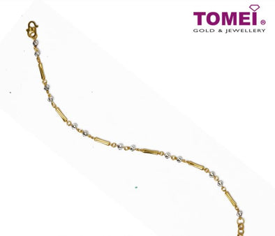 Sphericals and Elongated Rectangles in Harmony Dual-Tone Bracelet | Tomei Yellow Gold 916 (22K) (BB1104-E-2C)