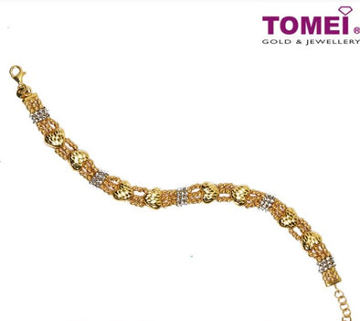 Sumptousness of Hearts in Splendorous Glitter Bracelet | Tomei Yellow Gold 916 (22K) (9M-DM-B5914-S-2C)