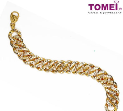Tapestry of Interlaced Elegance Dual-Tone Bracelet | Tomei Yellow Gold 916 (22K) (9M-DM-B101698-S-2C)