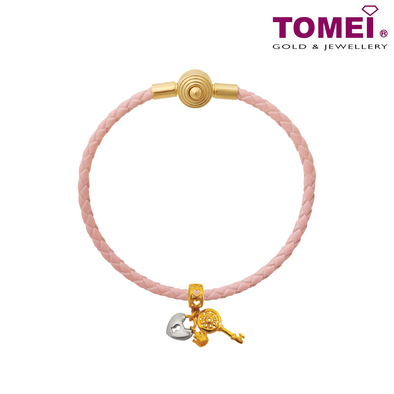 [Online Exclusive] Unlock Your Heart Charm | Colors of Memories | Tomei Yellow Gold 916 (22K) with Complimentary Peach Pink Bracelet (TM-YG0656P-2C)