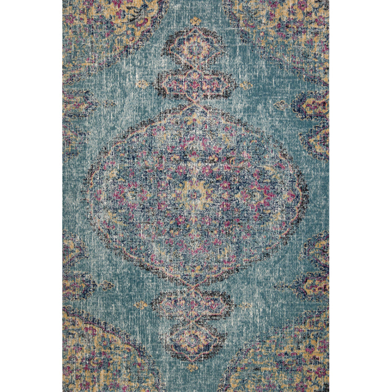 Eastern way vintage look large rug in blue and anthracite