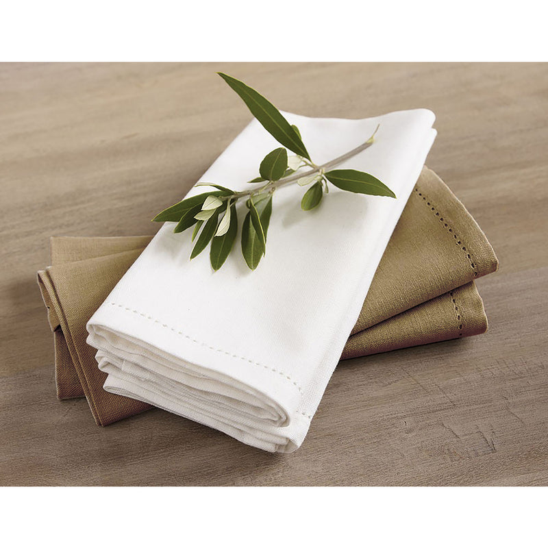 Hemstitch napkin in white