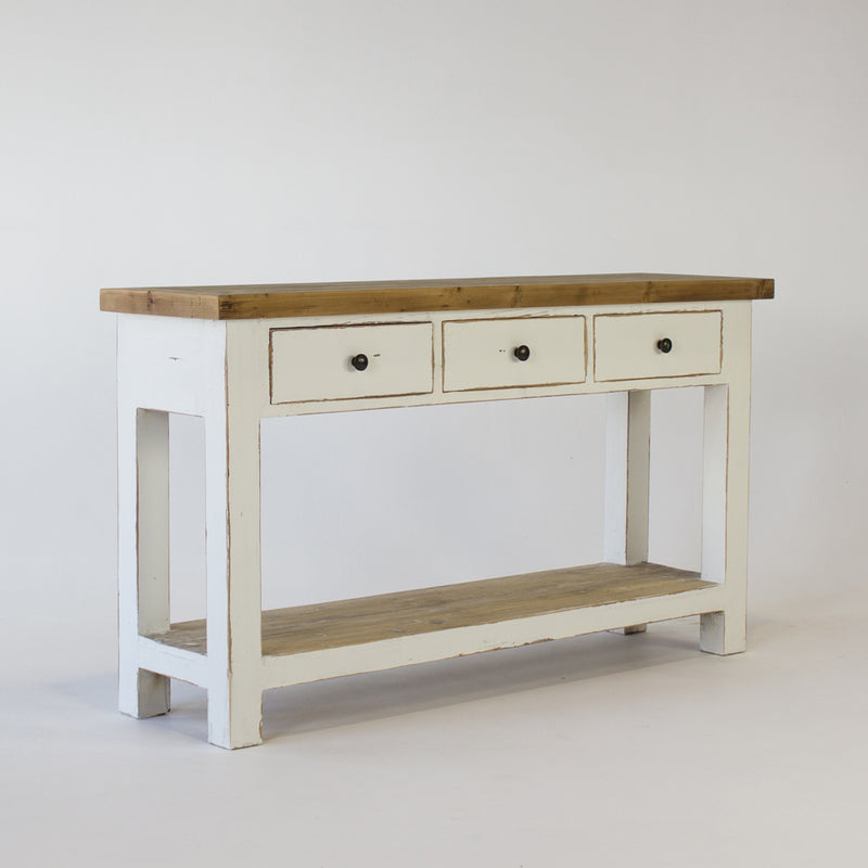 Beach console table with 3 drawers in white