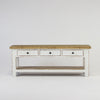 Beach console low with 3 drawers and shelf in white