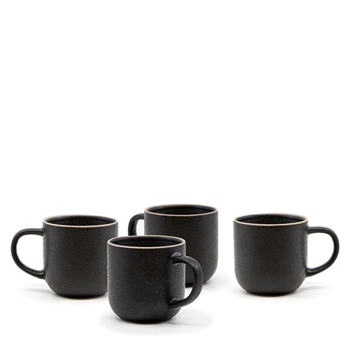S&P Hana 4pc mug set in black