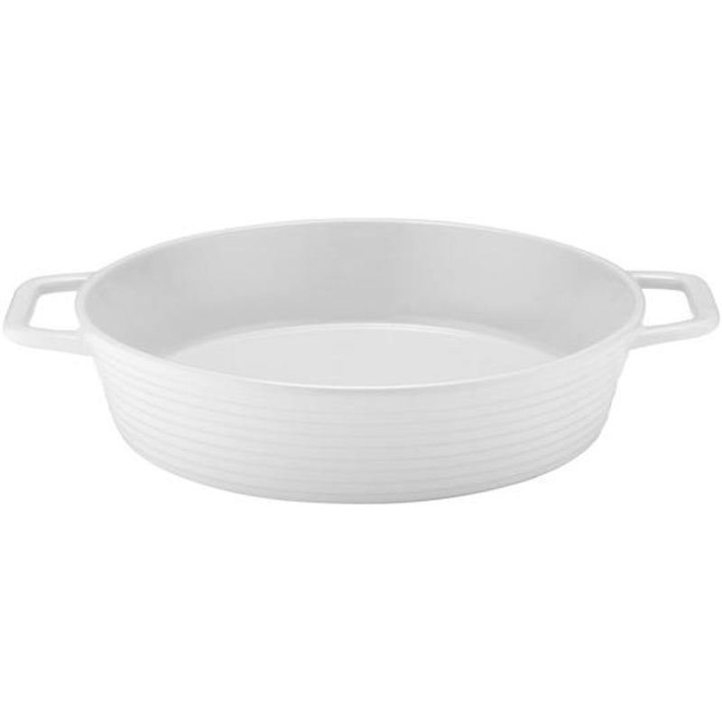 Homestead round baking dish in white
