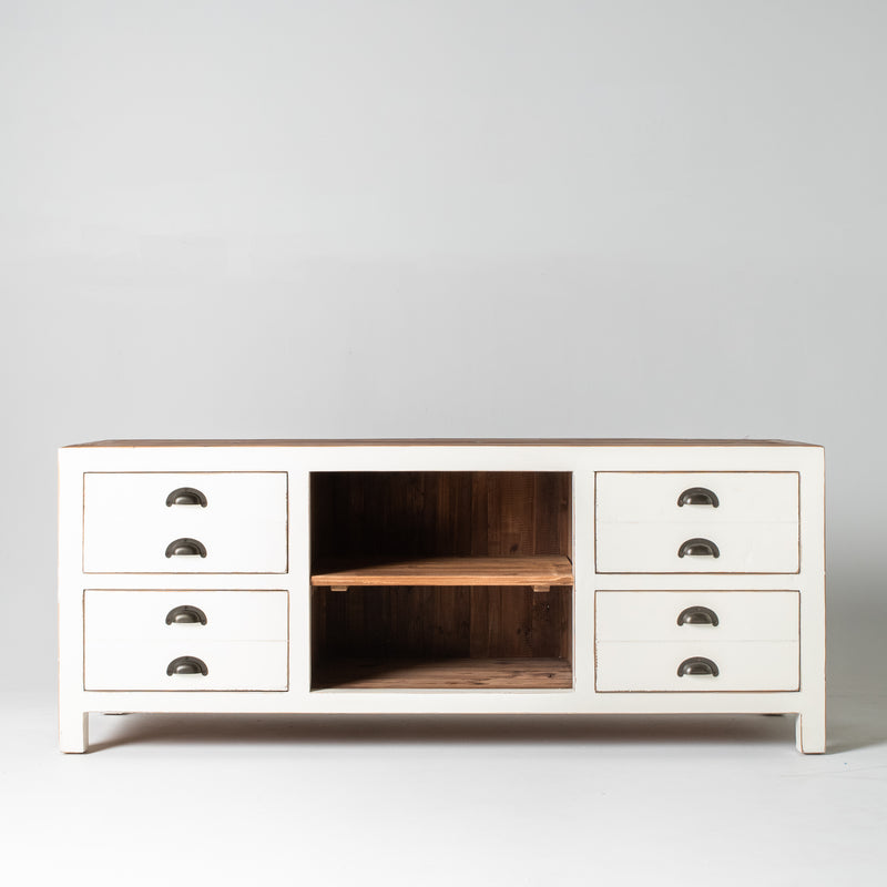 Beach TV buffet with 4 drawers & 2 shelves in white