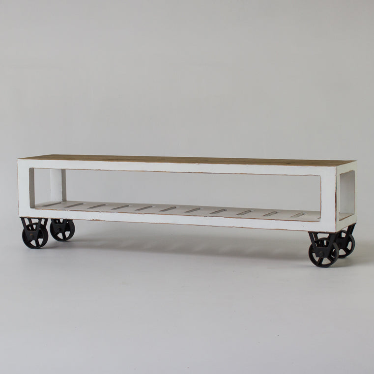 Industrial low TV console with wheels  in white