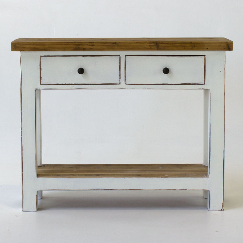 Beach console with 2 drawers in white