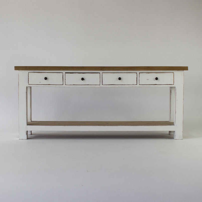 Beach console table with 4 drawers in white
