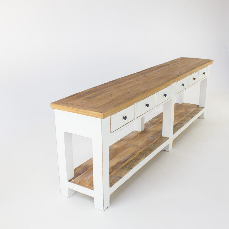Beach console table with 6 drawers in white
