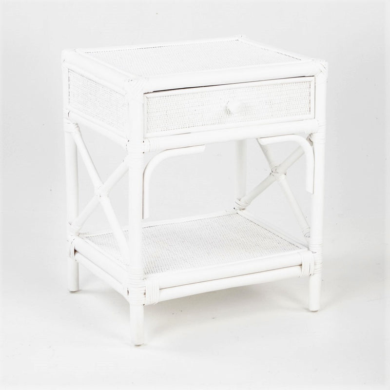 Caribbean rattan bedside table in white