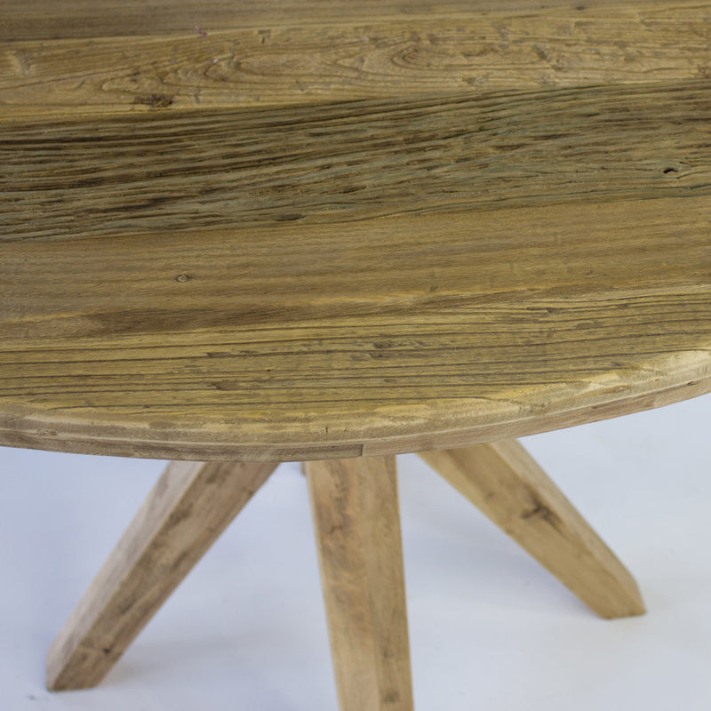 Bleached round dining table
