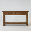 Beach console table with 3 drawers and shelf in bleached